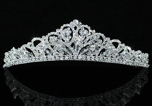 High Quality Clear Crystal Bridal Butterfly Veil Silver Plated Tiara XT1461