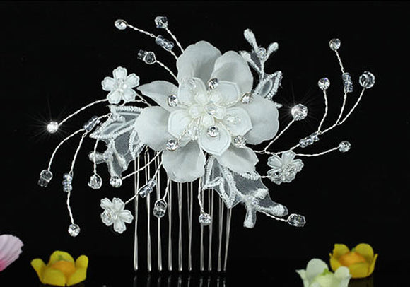 Bridal Wedding Ivory Fabric Flower Crystal Hair Comb XT1463