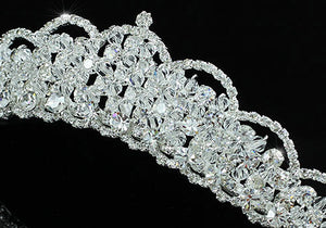 Bridal Sparkling High Quality Clear Crystal Silver Plated Tiara XT1468