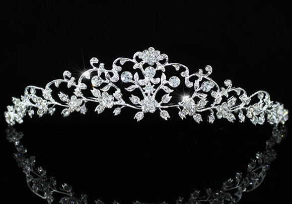 Bridal Wedding High Quality Flower Silver Plated Tiara XT1470