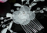 Bridal White Fabric Flower Crystal Hair Comb XT1487