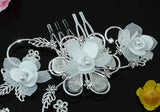 Bridal Handmade White Flower Fabric Crystal Hair Comb XT1493
