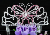 "Bridal Wedding Pageant Beauty Contest Pink Butterfly 3"" (7.5 cm) Tall Tiara XT1536"