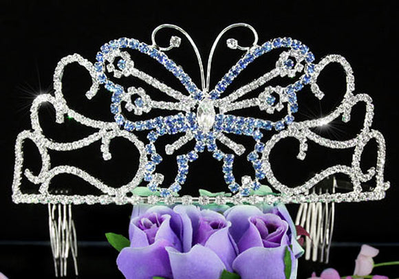 Bridal Wedding Pageant Beauty Contest Blue Butterfly 3