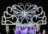 "Bridal Wedding Pageant Beauty Contest Blue Butterfly 3"" (7.5 cm) Tall Tiara XT1537"