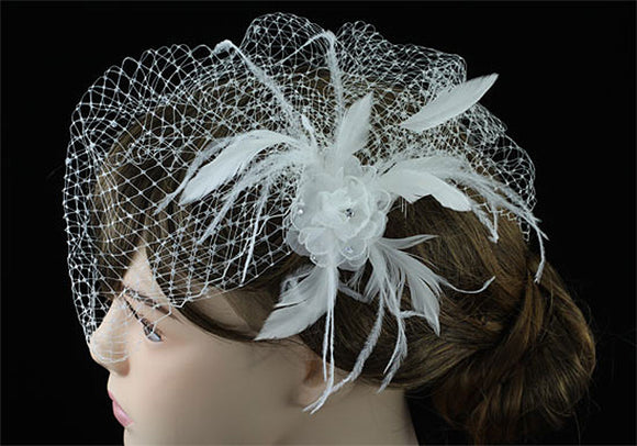 Bridal Wedding Birdcage Netting Veil with Feathers Fascinator Flower XT1574