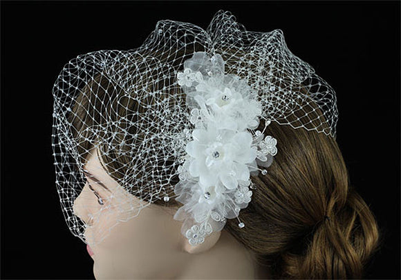 Bridal Wedding Birdcage Netting Veil with Feathers Fascinator Flower XT1576