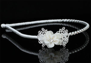 Bridal Flower Girl Ivory Fabric Ceramic Headband Tiara XT1597