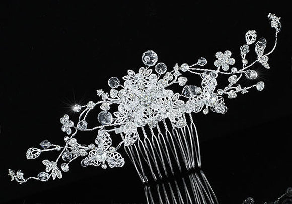 Bridal Wedding Flower Sparkling Long Flexible Hair Comb Slide XT1599