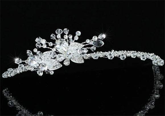 Bridal Wedding Prom Side Headpiece Flower Crystal Tiara XT1603