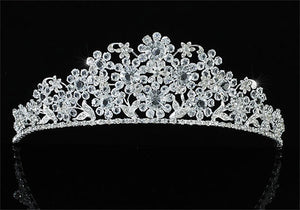 Bridal Wedding Pageant Prom Flower High Quality Silver Plated Tiara XT1615