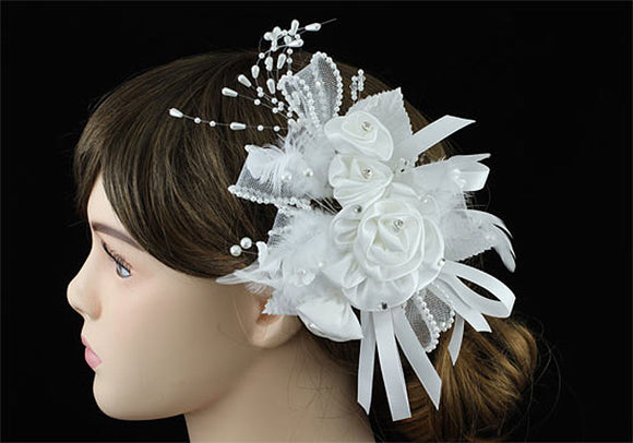 Bridal Wedding Fascinator White Feather Handmade Hair Flower XT1631