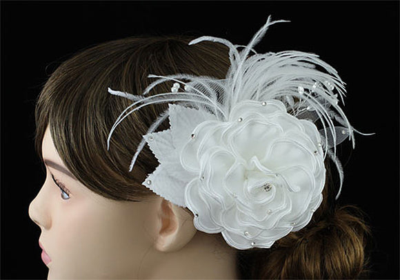 Bridal Wedding Fascinator White Feather Handmade Hair Flower XT1632