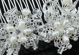 Bridal Wedding Art Deco Ivory Fresh Water Pearl Crystal Hair Comb XT1635