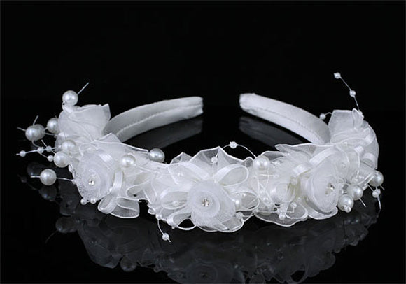 Bridal Flower Girl White Fabric Headband Tiara XT1643