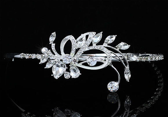 Bridal Wedding Side Headpiece Flower Silver Plated Tiara XT1671