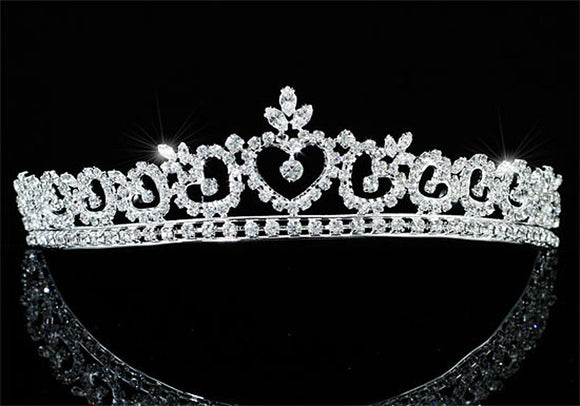 Bridal Wedding Prom Heart Rhinestone Crystal Tiara XT1679