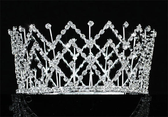 Bridal Pageant Crystal Medium Size Full Circle Round Tiara Crown XT1710