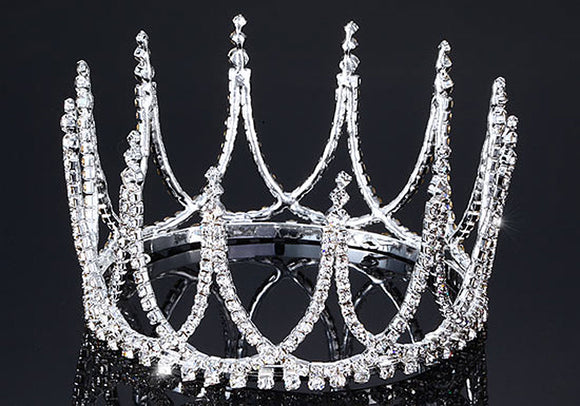 Bridal Pageant Crystal Medium Size Full Circle Round Tiara Crown XT1712