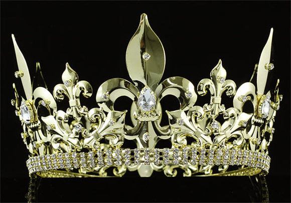 Men's Imperial Medieval Fleur De Lis Gold King Crown XT1716
