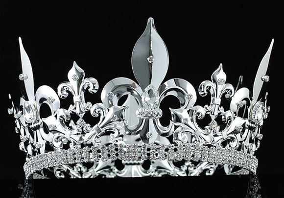 Men's Imperial Medieval Fleur De Lis Silver King Crown XT1717