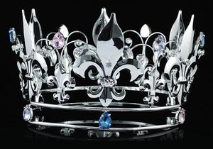 "Pageant Beauty Contest Unisex Fleur De Lis 5"" Full Circle Created Sapphire Silver Men's King / Women Queen Crown XT1718"