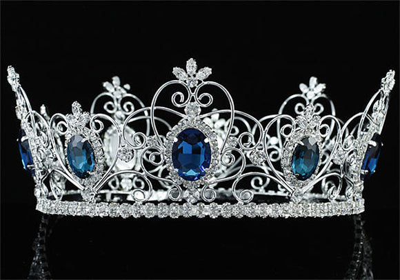 Pageant Beauty Contest Unisex Pageant Full Circle Tiara Created Blue Sapphire Men's King / Women Queen Crown XT1720