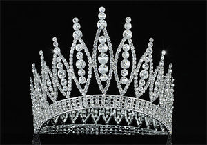 "High Quality Pageant Beauty Contest Tall 4.6"" Tiara Full Circle Round Crystal Crown XT1723"