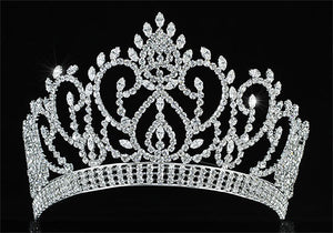 "Vintage Style Pageant Beauty Contest Tall 4.5"" Tiara Full Circle Round Crystal Crown XT1724"