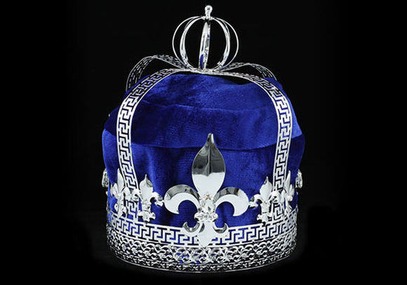Men's Blue Velvet Deluxe Imperial Medieval Fleur De Lis Silver Full King Crown XT1727