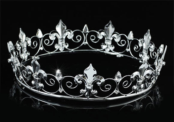 Men's Imperial Medieval Fleur De Lis Full Circle Silver King Crown XT1755