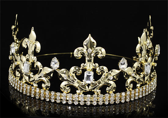 Pageant Beauty Contest Imperial Medieval Fleur De Lis Pageant Full Circle Round Gold King / Prince Men's Crown XT1769