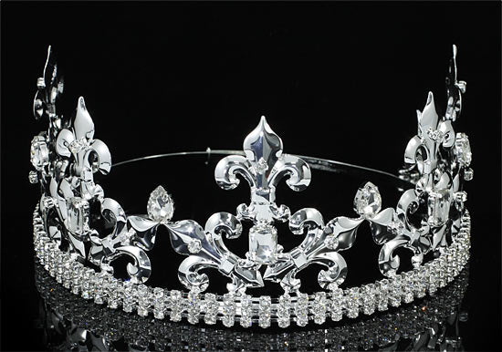 Pageant Beauty Contest Imperial Medieval Fleur De Lis Pageant Full Circle Round Silver King / Prince Men's Crown XT1770