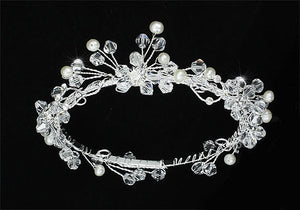 Handmade Flower Girl / Baby Crystal Fresh Water Pearls Full Circle Round Mini Crown Tiara XT1772