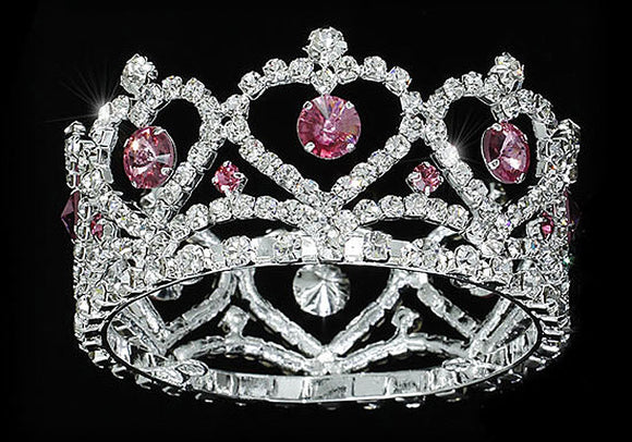 Flower Girl / Baby Crystal Full Circle Round Heart Pink Mini Crown Tiara XT1777