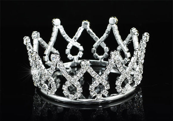 Flower Girl / Baby Crystal Full Circle Round Mini Crown Tiara XT1781