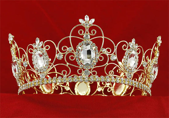Men's Pageant Imperial Medieval Full Circle Tiara Crystal Men's Gold King Crown XT1784