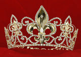"Men's Pageant Imperial Medieval Fleur De Lis Tall 4"" Tiara Full Circle Round Crystal Gold King Crown XT1785"