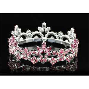 Bridal Flower Girl / Baby Round Full Circle Rhinestone Pink Mini Tiara Crown XT1787