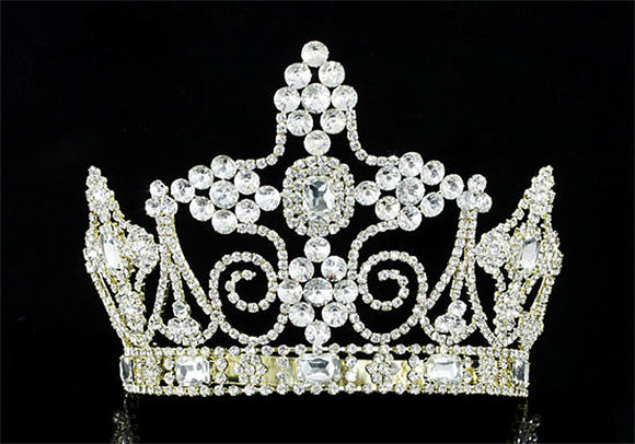 Men's Homecoming Pageant Gold King Crown Imperial Pageant Tall Tiara Full Circle Round Crystal XT1803