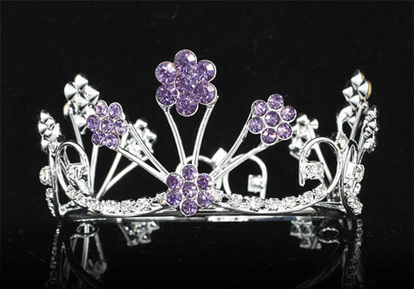 Newborn Baby Photo Prop Round Full Circle Rhinestone Purple Flower Mini Tiara Crown XT1809