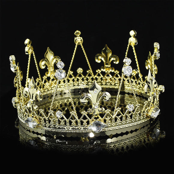 Men's Pageant Imperial Tiara Full Circle Round Gold King Crown XT1817