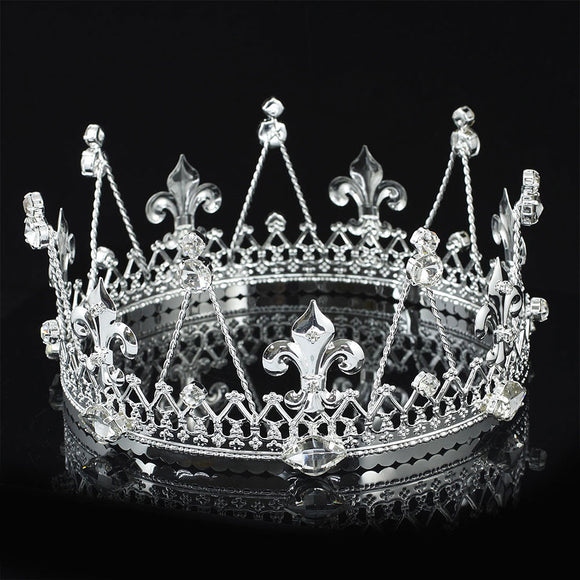 Men's Pageant Imperial Tiara Full Circle Round Silver King Crown XT1818