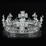 Men's Pageant Imperial Tiara Full Circle Round Silver King Crown XT1821