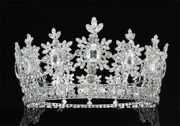 Men's Pageant Imperial Tiara Full Circle Round Silver King Crown XT1827