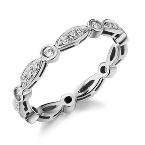 14K White Gold Wedding Band Ring 0.3Ct Natural Diamonds Art Deco Vintage Style