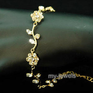 Bridal Fashion Flowers Clear Rhinestone Gold Bracelet XB010