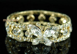 Bridal Fashion Butterfly Clear Crystal Gold Bracelet XB023