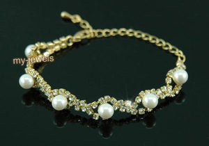 Bridal Fashion White Pearl Crystal Gold Bracelet XB026