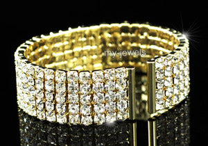5 Row Crystal Bridal Wedding Gold Cuff Bangle Bracelet XB041